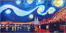 Stampa su plexi-alluminio  Starry Night in Cologne - Van Gogh inspirations on Rhine with Cathedral and Hohenzollern Bridge - M. Bleichner
