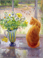 Adesivi murali  Cat with Flowers in the window - Timothy Easton