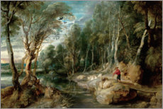 Stampa su tela  A Shepherd with his Flock in a Woody landscape - Peter Paul Rubens
