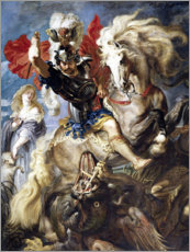 Stampa su plexi-alluminio  St. George and the Dragon - Peter Paul Rubens