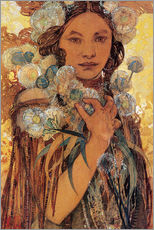 Stampa su plexi-alluminio  Native American Woman with Flowers and Feathers - Alfons Mucha