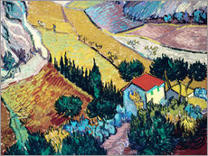 Adesivo murale  Landscape with House and Ploughman - Vincent van Gogh