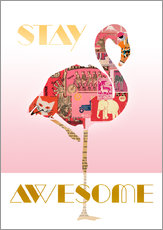 Adesivo murale  Stay Awesome Flamingo - GreenNest