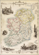 Stampa su plexi-alluminio  Map Of Ireland by Thomas Wright - Ken Welsh