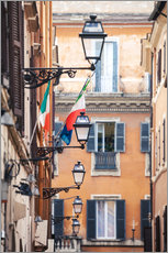 Adesivo murale  Street in the centre of old town with italian flags, Rome, Italy - Matteo Colombo