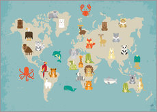 Stampa su plexi-alluminio  The animal world map for the nursery - Petit Griffin