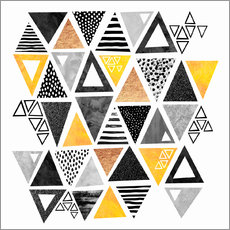 Adesivi murali  Triangle abstract   Black and yellow - Elisabeth Fredriksson