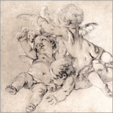 Poster Premium Three putti fly with a dove