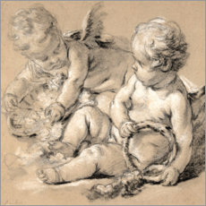 Poster Premium Winged Putti with Flowers