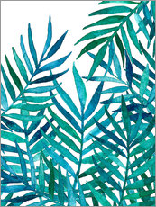 Adesivi murali  Watercolor Palm Leaves on White - Micklyn Le Feuvre