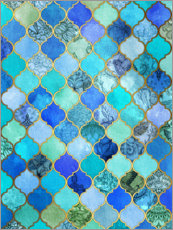 Stampa su tela  Cobalt Blue, Gold Moroccan Tile Pattern - Micklyn Le Feuvre