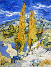 Adesivo murale  Two Poplars on a Hill - Vincent van Gogh