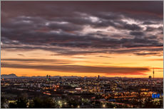 Stampa su plexi-alluminio  Sunset over Munich (Bavaria) - Achim Thomae