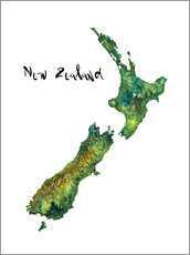 Stampa su plexi-alluminio  Map of New Zealand in Watercolour - Ricardo Bouman