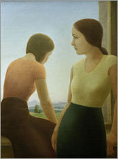 Adesivo murale  Two girls at the window - Georg Schrimpf
