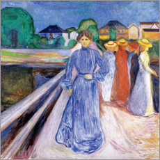 Stampa su tela  The Ladies on the Bridge - Edvard Munch