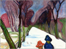 Poster Premium  Fresh snow in the alley - Edvard Munch