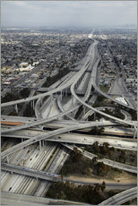 Stampa su plexi-alluminio  Autostrade a Los Angeles - David Wall