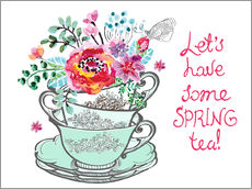 Adesivo murale  Let's have some spring tea - Typobox