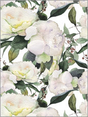 Adesivi murali  White Peony in watercolor