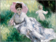 Poster Premium  Dame and toddler on a hill - Pierre-Auguste Renoir