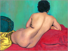 Stampa su legno  Nude from behind on a red sofa - Felix Edouard Vallotton