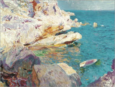 Stampa su plexi-alluminio  Rocks of Jávea and the white boat - Joaquin Sorolla y Bastida