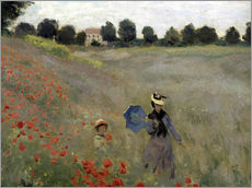 Adesivo murale  Poppy field at Argenteuil, detail - Claude Monet
