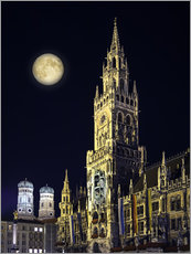 Stampa su plexi-alluminio  Night scene from Munich Town Hall