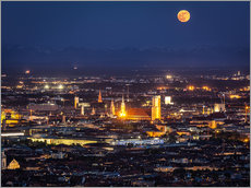 Adesivo murale  Munich Skyline with yellow full moon