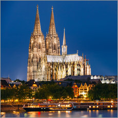 Stampa su plexi-alluminio  Night view of Cologne Cathedral