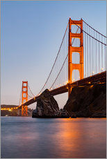 Stampa su plexi-alluminio  ?San Francisco Golden Gate Bridge at sunset