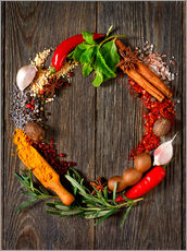 Stampa su plexi-alluminio  wreath of spices and herbs