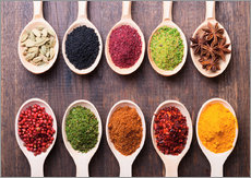 Spice powder in wooden spoons