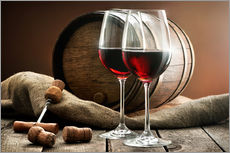 Adesivi murali  wine and cask on a wooden table