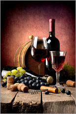 Adesivo murale  Red wine with grapes and corks