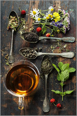 Adesivo murale  Tea with honey, wild berries and flowers