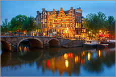 Stampa su plexi-alluminio  Night city view of Amsterdam