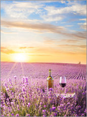 Stampa su plexi-alluminio  Bottle of wine in lavender field
