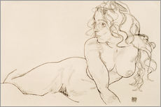 Stampa su plexi-alluminio  Resting himself Female act with long hair - Egon Schiele