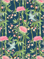 Adesivo murale  bamboo birds and blossoms on teal - Micklyn Le Feuvre