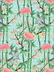 Stampa su plexi-alluminio  bamboo birds and blossoms on mint - Micklyn Le Feuvre