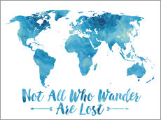 Stampa su plexi-alluminio  World Map Watercolor Blue - Mod Pop Deco
