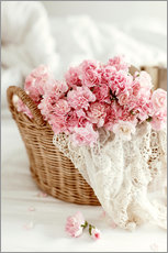 Adesivi murali  Pink Pastel Flowers in wicker basket