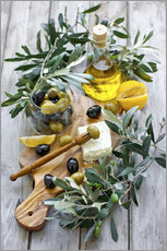 Adesivi murali  Green and black olives with bottle of olive oil