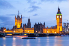 Stampa su plexi-alluminio  Big Ben and Westminster Bridge in London