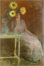 Adesivo murale  Sedentary woman next to a vase with sunflowers - Claude Monet