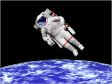 Adesivo murale  Astronaut floating in outer space above planet Earth. - Elena Duvernay
