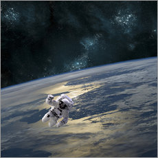 Adesivo murale An astronaut floating above Earth.