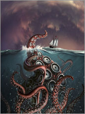 Adesivo murale  A fantastical depiction of the legendary Kraken. - Jerry LoFaro